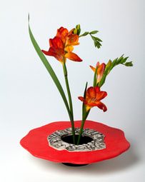 Vivid Red Ikebana by Susan Wills